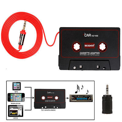 Black Cassette Tape 3.5mm Music Aux Adapter Converter Audio For MD MP3/4 Player