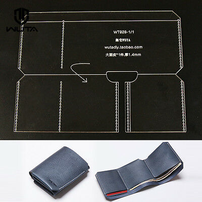 Trifold Wallet Acrylic Template Leather craft pattern  928