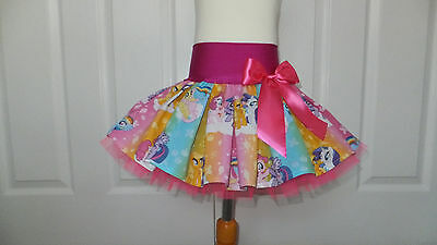 NEW HANDMADE CHILDS RAINBOW MY LITTLE PONY PINK TUTU SKIRT DANCE PARTY 4 - 6 yrs