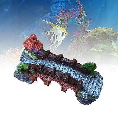 Vintage Bridge Fish Tank Aquarium Landscaping Underwater Ornament Decoration AF • EUR 2,69