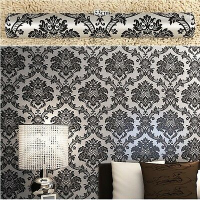 Metallic Silver Black Textured Damask Wallpaper Vintage Vinyl Wall Paper Rolls
