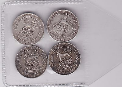 Four Silver Sixpences Dated 1911/1912/1916 & 1919 In Fine Or Better Condition