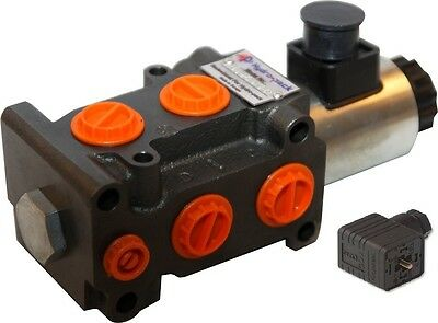 "Hydraulic 6 Port Solenoid Diverter Valve 3/8"" 12VDC With Electric Plug"