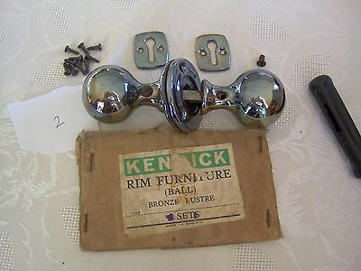 Original kenrick Bronze Lustre Round Door Knobs, plates and lock covers b