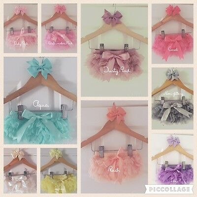 Baby Girls Frilly Tutu Knickers Bloomer Boutique Cake Smash Christening Hair Bow