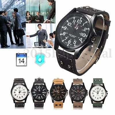Mens Date Watches Quartz Stainless Steel Case Leather Band New Wrist Watch Gift