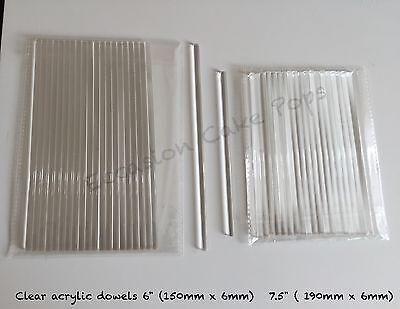 "PACK OF 20 CLEAR ACRYLIC CAKE DOWEL ROD Or CAKE POP STICK  6"" QUALITY FOOD SAFE"