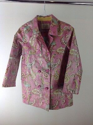 Girls Little Joules Pink Rain Mac Waterproof Jacket With Lining Age 9-10