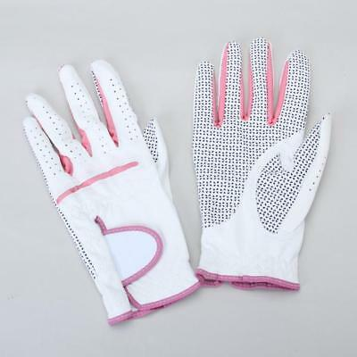 "Pair White Pink Womens Leather Golf Gloves Anti-slip Palm Size 8.5"" x 3.625"""