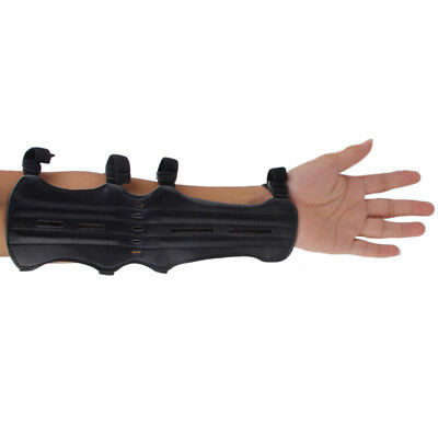 Artificial Leather Shooting Archery Arm Guard Safety Protect 4 Straps Black