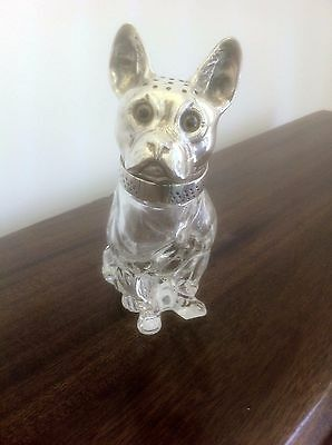 Silver White Metal & Glass Hat Pin Holder in Form of Bull Terrier