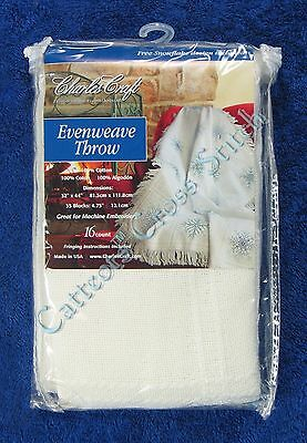 "Cross Stitch Evenweave Throw Afghan 32"" x 44"" Cloth Cotton 16 Count"