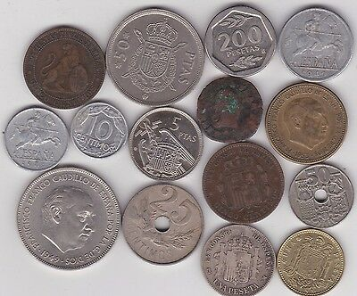 15 Coins From Spain Dated 1870 To 1986