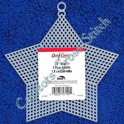 "Plastic Canvas Star 5"" Ornament Quick Count Cross Stitch Needlepoint Shape"