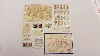 Vintage letters stamps maps invite stationary for a 1:12t scale dollshouse KIT
