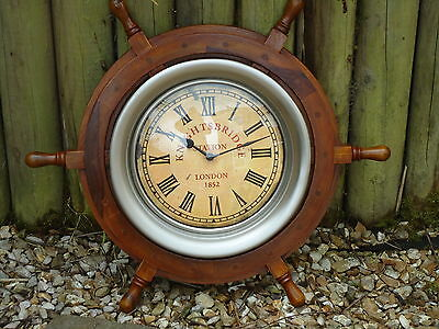 Ships wheel Large Clock 24 Inches across Wheel- maritime  Nice Size