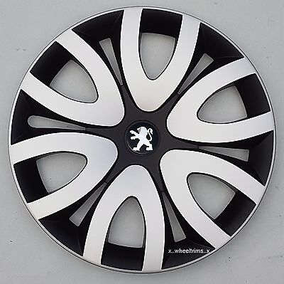 """Set of 4   black /silver 15"""" wheel trims to fit Peugeot 208"""