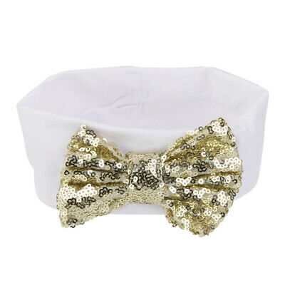 Baby Toddler Girls Elastic Hair Band Sequined Bow Headband Turban Knot White