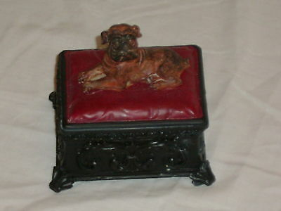 Dog Trinket Box Antique Style A Very Nice Gift Bull Dog