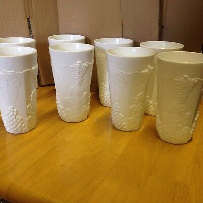 Vintage Eight White Pressed Milk Glass Glasses Beakers Cups