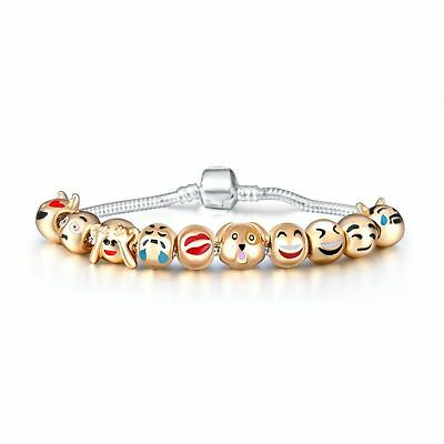 DOG CAT EMOJI'S  18ct Gold Plated Charm Bracelet  Perfect gift***FREE P & P***