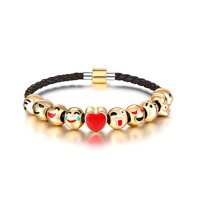 EMOJI'S  18ct Gold Plated Charm Bracelet  Perfect gift Leather