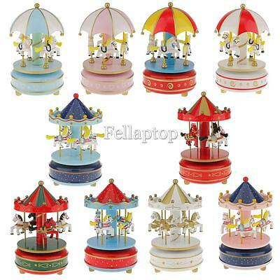 Horse Carousel Music Box Clockwork Toy Decorative Collectible Kid Christmas Gift