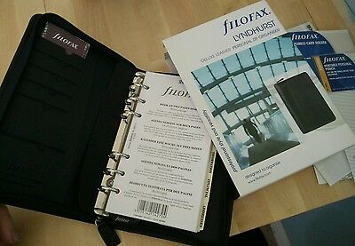 Filofax A5 Black Leather Lyndhurst Brand New Boxed with Extras