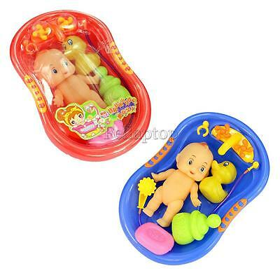 Bathtub w/ Baby Doll Bath Time Toy Set Kid Pretend Play Preschool Water Playing