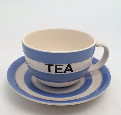 """Cornish Blue """"TEA"""" Cup & Saucer by T.G.Green Cornishware - Limited Edition"""