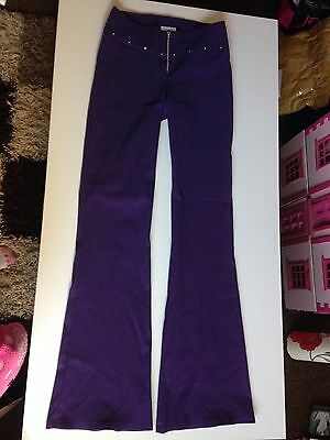 Vintage New Look Shimmery Flared Stretchy Disco Trousers Size 8 6/8 Vgc