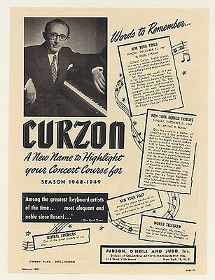 1948 Pianist Clifford Curzon Photo Booking Print Ad