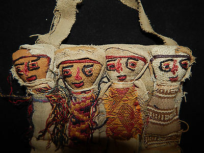 Pre-Columbian Chancay Burial Dolls, Collection of 4, Ancient Textiles