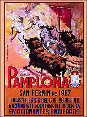 1957 Pamplona - San Fermin Spain Espana Vintage Travel Advertisement Art Poster