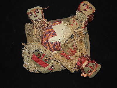 Pre-Columbian Chancay Burial Dolls, Ancient Textile, Authentic