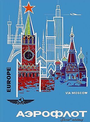 Soviet Union Airlines Russia Russian Moscow Vintage Travel Advertisement Poster