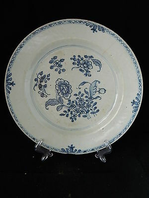Antique 18th century Chinese blue and white porcelain plate with floral pattern