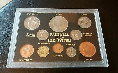 Queen Elizabeth 2 II Farewell to The £.s.d.  System, inc 1953 Farthing, 10 coins