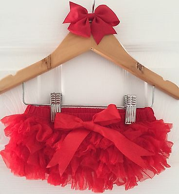 Baby Girls Red Christmas Frilly Tutu Knickers Bloomers & Bow Clip Cake Smash