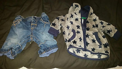 Next Baby Jeans And Babaluno Furry Hooded Jacket Age 0-3 Months