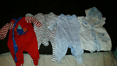 4 X Baby Grows/sleepsuits  Age 0-3 Months Mothercare George Bhs