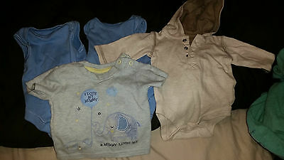 4 X Baby Boys Vests / T Shirts Tiny Baby / First Size George Mothercare