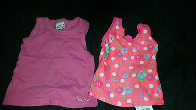 2 X Girls Clothing George Flowered Swim Top Next Vest Top Age 9-12 Months