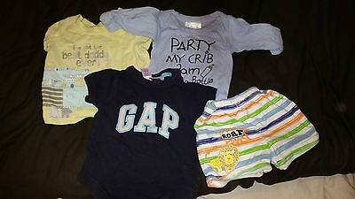 3 X Baby T Shirts / Vests   Age 0-3  Months George Gap  And Next Free Shorts