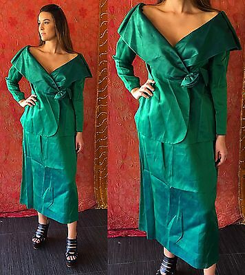Vintage 80s Silk Dress NWT Party COUTURE Cocktail Evening Dress