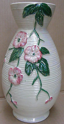Maling Tube Lined Pearl Lustre Vase With Apple Blossom Decoration C.1923 - 64