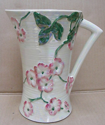 Maling Tube Lined Pearl Lustre Jug With Apple Blossom Decoration C.1923 - 64