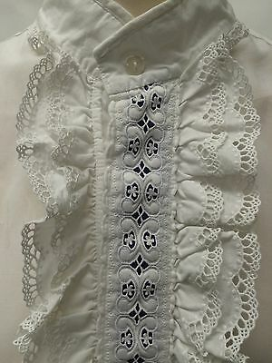 Vintage 60s 70s Rocola Frilly White Mens Dress Shirt 15 Collar 42/44 Chest