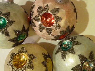 Vtg GLASS TREE ORNAMENTS COLORED LOT of 4