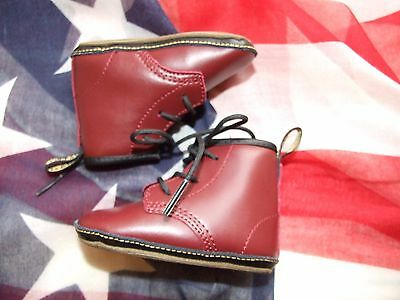 Oxblood Cherry Dr Martens baby Crib Shoes size 2 (Nov16)
